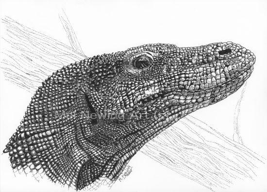 Pen drawing of a komodo dragon using pointillism