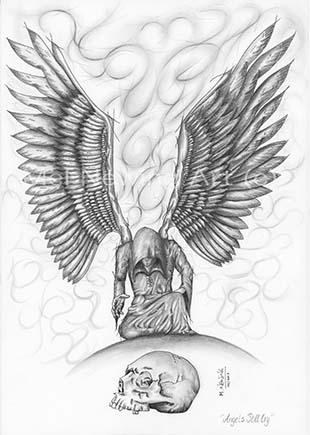 Kneeling angel and skull laid before them