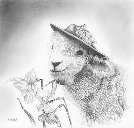 Pencil drawing of a spring lamb.