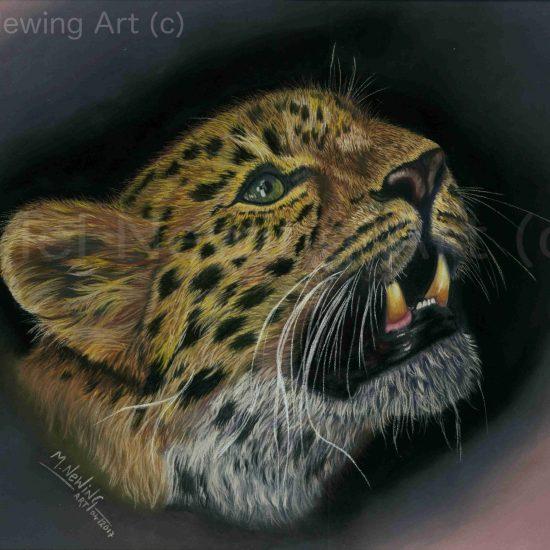 Amur Leopard pastel pencil art