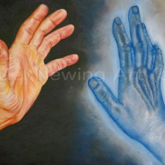 Pastel picture depicting one hand and a ghost hand coming to touch