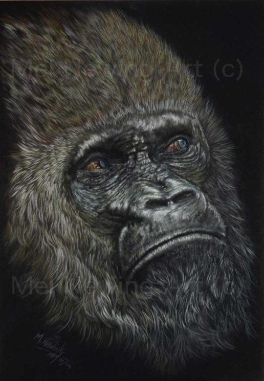 Pastel artwork of a Mountain Gorilla